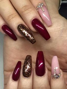 Fancy Nails, Bling Nails, Swag Nails, Grunge Nails, Maroon Nails, Burgundy Nails, Maroon Nail Designs, Nail Art Designs, Nagellack Design