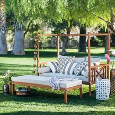 Outdoor Patio Daybed With Ottoman 2 Piece Wooden Lounge ... on Belham Living Brighton Outdoor Daybed id=91087