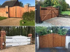 "Same design of driveway gate just in different material choice! All from our ""Berkshire"" range featuring a double swan neck header and vertical cladding. Top left is deep framed with metal and hardwood cladding. Top right is crafted from Iroko hardwood. Bottom left has been finished in white with the bottom right in softwood pine with a medium oak finish. Whatever your design, make sure you select the right gate material. Metal Garden Gates, Metal Gates, Wooden Gates, Wrought Iron Gates, Garage Gate, Side Gates, Double Gate, Electric Gates, Driveway Gate"