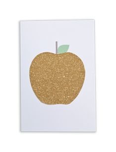 brown paper designs glitter apple card