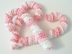 Crocheted 6 inch long Pink Candy Canes! I'd like them in red and white
