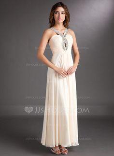 A-Line/Princess V-neck Ankle-Length Chiffon Holiday Dress With Ruffle Beading (020016843) - JJsHouse  **james' pick