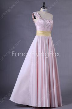Asymmetrical Straps A-line Full Length Pearl Pink Bridesmaid Dresses With Yellow Sash