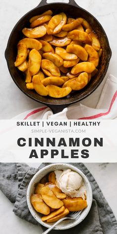 Cinnamon Apples recipe – easy and delicious spiced apples! Warm, soft, apples wrapped in cinnamon galore, this healthy skillet cinnamon … Vegan Dessert Recipes, Vegan Snacks, Appetizer Recipes, Whole Food Recipes, Vegan Meals, Healthy Meals, Apple Recipes Easy, Vegan Recipes Easy, Vegetarian Recipes
