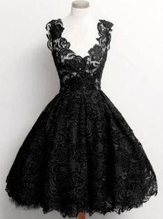 Love the Lace Neckline! Stylish Black Plunging Neck Sleeveless Solid Color Lace Women's Dress #Black #Lace #Party #Dress #LBD #Little_Black_Dress #Fashion