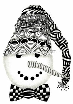 Zentangle Inspired Christmas Cards - 4-1/4 x 5-1/2 inch cards - set of 4 cards