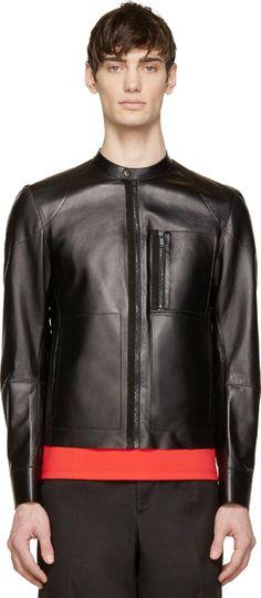 Alexander Mcqueen: Black Leather Minimal Biker Jacket