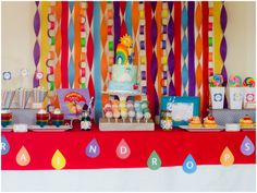 Colorful Backdrop with a mix of paper chains and streamers