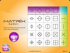 OT Cafe: App of the Week   Matrix Game. iPad app for young children that helps develop visual perceptual skills.