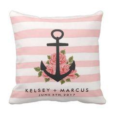 Romantic Rose Nautical Anchor Pink Wedding Pillow - Love Throw Pillows