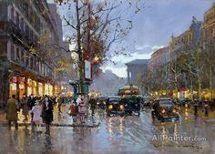 Edouard Léon Cortes,Boulevard De La Madeleine oil painting reproductions for sale
