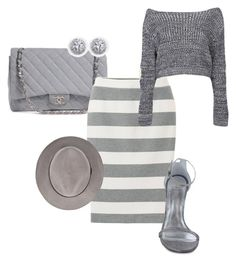 """""""grays"""" by victoriadoriana ❤ liked on Polyvore featuring Chanel, Uniqlo, Boohoo and Stuart Weitzman"""
