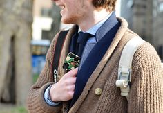 Cardigan over a blazer. And is that a Bape iPhone case I see?  ^ how all men should dress