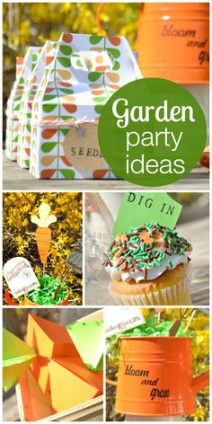 Sow the seeds of love at this modern garden party with fun favors, decorations and cupcakes!  See more party ideas at CatchMyParty.com!