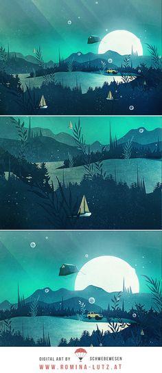 """Beneath Barafundle"" by Schwebewesen | Romina Lutz vector illustration surreal surrealism digital art artist flat illustrator photoshop | moonlight camping wanderlust explore tent roof toyota boat lake nature landscape dream surreal surrealism"