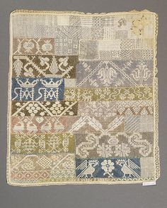 This sampler is worked in drawn work with birds, animals, pomegranates, floral and border patterns, and one corner embroidered with a rooster and stag. Linen tabby w … Drawn Thread, Border Pattern, Pomegranates, Darning, Cross Stitch Designs, Old And New, Rooster, Stitches, Needlework
