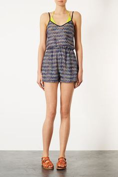 Blue Ziz Zag Playsuit Cover Up