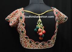 Stunning blouse back neck designs with stone work. Make your silk (pattu) and designer sarees more interesting by opting for stone work on blouse. Best Blouse Designs, Wedding Saree Blouse Designs, Pattu Saree Blouse Designs, Blouse Back Neck Designs, Ghagra Saree, Silk Sarees, Pink Saree Blouse, Peach Saree, Stone Work Blouse