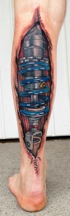 Biomech Tattoo by André Zechmann. my dad only has one complete leg. Tattoos Bras, 3d Leg Tattoos, Leg Tattoo Men, Calf Tattoo, Life Tattoos, Body Art Tattoos, Sleeve Tattoos, Tattoo Arm, Tattoo Half Sleeves