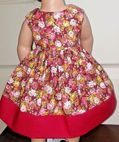 Handmade Clothes/American Girl Dolls/18 Inches/Pink & Red Flowers Dress. #Handmade