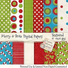 "Digital Christmas Paper ""Merry & Brite"" :: Paper Packs :: Digital Scrapbooking :: Aimee Asher Boutique"