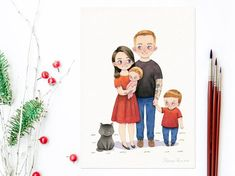 Your place to buy and sell all things handmade Illustrations, Book Illustration, Watercolor Illustration, Modern Portraits, Family Portraits, Watercolor Paper, Watercolor Paintings, Wedding Couples, Original Paintings