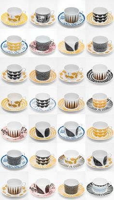 """""""Just my cup of tea"""" is a series of cups designed by Anna Backlund and Elisabeth Dunker for """"House of Rym"""", The series includes several different designs to be matched as one pleases Scandinavian Home Interiors, Scandinavian Design, Porcelain Ceramics, Ceramic Art, Kitsch, Copper And Brass, My Cup Of Tea, Beautiful Patterns, Dinnerware"""