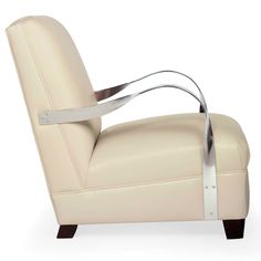 Bernhardt. Markham Chair in creamy leather, mirror polished stainless steel