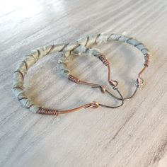 Silk Road Gypsy Hoop Earrings, Large, Hammered Copper, Sage, Pale Green, Silk Wrapped
