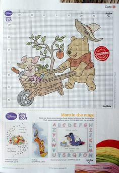Winnie the Pooh Piglet cross stitch - Arbor Day? Disney Cross Stitch Patterns, Cross Stitch For Kids, Cross Stitch Baby, Modern Cross Stitch Patterns, Cross Stitch Charts, Cross Stitch Designs, Cross Stitching, Cross Stitch Embroidery, Stitch Cartoon