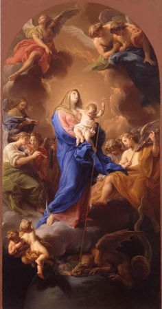 The Madonna and Child in Glory // ca. 1747 // Pompeo Batoni // © Toledo Museum of Art Religious Paintings, Religious Art, Blessed Mother Mary, Mother Of Christ, Rubens Paintings, Catholic Tattoos, Toledo Museum Of Art, Jesus E Maria, Sans Art