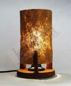 DESK LAMP Lamp shade made from cocofiber. Bottom side made from wood layered by cocopeat. Dimention: H: 25 cm. D: 14 cm.