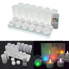 12pcs/lot RGB Remote Controlled Rechargeable Tea Light LED Candles Lamp Colorful for Birtyday Party Wedding Hall Decoration