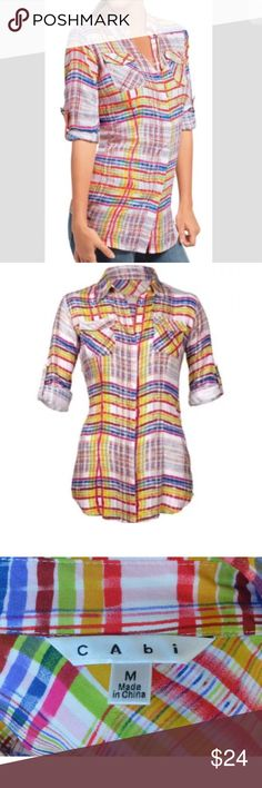 CAbi Sz M #797 CIRQUE PLAID BUTTON FRONT SHIRT CABI #797 CIRQUE PLAID BUTTON FRONT SHIRT - PRISTINE - M CAbi Tops Button Down Shirts