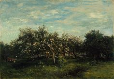 Charles–François Daubigny, (French, 1817–1878). Apple Blossoms, 1873. The Metropolitan Museum of Art, New York. Bequest of Collis P. Huntington, 1900 (25.110.3) #spring
