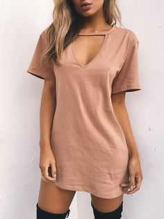 Women Tshirt Dress 2019 Choker V-neck Summer Dresses Short Sleeve Casual Sexy Halter Loose Boho Beach Dress Vestidos Plus Size - Army Green XXXL Dress Vestidos, Mini Vestidos, Short Summer Dresses, Short Sleeve Dresses, Short Sleeves, Mini Dresses, Dress Summer, Cotton Dresses, Summer Outfits