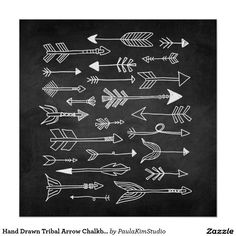 Hand Drawn Tribal Arrow Chalkboard Poster