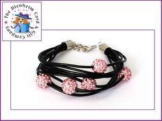 Leather Shamballa style bracelet.  £6 plus postage.