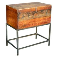 Antique Painted Trunk on Stand | From a unique collection of antique and modern trunks and luggage at https://www.1stdibs.com/furniture/more-furniture-collectibles/trunks-luggage/