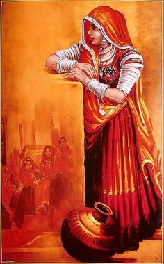 Drawing Woman Rajasthani Woman - Rajasthani Woman (Reprint on Paper - Unframed) Rajasthani Painting, Rajasthani Art, Indian Women Painting, Indian Art Paintings, Poster Color Painting, Composition Painting, Renaissance, Art Village, Indian Folk Art