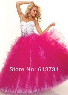 Dazzling rebordear color de rosa caliente vestidos quinceañera balón vestido con volantes cariño Organza del suelo Prom vestidos