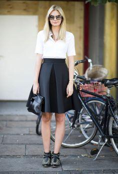 Flat booties toughen up a ladylike look