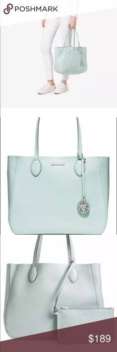 New Michael Kors soft leather tote, reversible! Beautiful new Michael Kors soft leather tote handbag. Reversible, silver interior. Also comes with small wristlet. Michael Kors Bags Totes