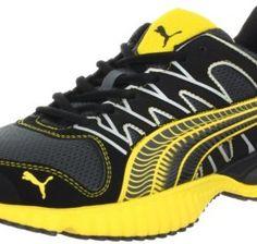 PUMA Men's Radius Running Shoe,Dark Shadow/Black/Yellow,11 D US