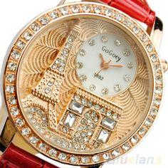 Fashion Women Eiffel Tower Crystal Dial Leather Band Quartz Chic Wristwatch B8CU #Phoenix1900us #Casual