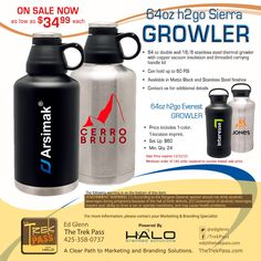 On sale now; the H2Go Sierra Growler is a beast! | 64 oz double wall 18/8 stainless steel thermal growler with copper vacuum insulation and threaded carrying handle lid. This bad boy can hold up to 60 PSI!  #promoproducts #branding #promotionalproducts #hydration #marketing #brewgear #advertising #corporategifts #adspecialties #sale #growlers #brewery #beer #craftbrew