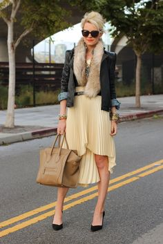 Atlantic-Pacific | high-low pleated skirt, chambray shirt and leather jacket with fur