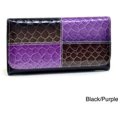 Dasein Faux-Leather Embossed Top-Flap Snake-Skin Checkbook Wallet ($19) ❤ liked on Polyvore featuring bags, wallets, embossed wallet, snake print wallet, vegan bags, python wallet and multi color wallet