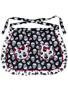 """Lust For Skulls"" Apron by Sourpuss Clothing (Black/White) #inkedshop #apron #skulls #bows #cute #kitchen #homegoods"