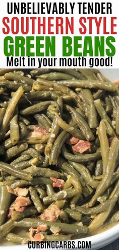 Easy Southern style soul food green beans with garlic and bacon. - Easy Southern style soul food green beans with garlic and bacon. I made these in my Instant Pot. This is the perfect side dish for Sunday Dinner or Thanksgiving! Soul Food Green Beans, Green Beans With Bacon, Crock Pot Green Beans, Fancy Green Beans, Garlic Green Beans, Side Dish Recipes, Easy Dinner Recipes, Soul Food Recipes, Soul Food Meals
